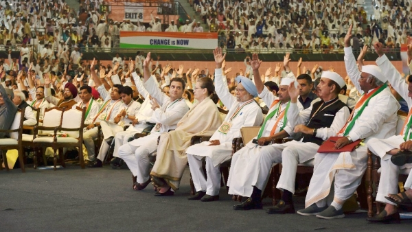 UPA chairperson Sonia Gandhi, Rahul Gandhi, former Prime Minister Manmohan Singh and other Congress leaders at the 84th Plenary Session of the Congress in New Delhi on Saturday, 17 March.