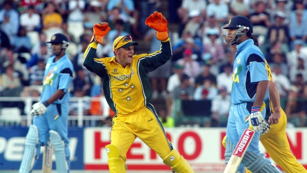 Australia's Adam Gilchrist celebrates in front of India's Yuvraj Singh after his dismissal during the 2008 ICC World Cup final.