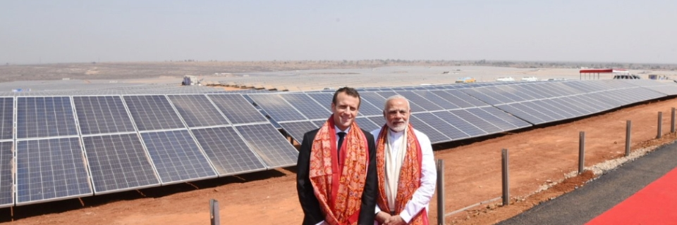 Image result for Modi-Macron,inaugurated,the,largest,solar,power,plant,in,Mirzapur,,Uttar,Pradesh,