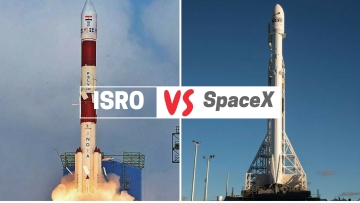 ISRO's PSLV C-40 (left) and SpaceX's Falcon 9 rocket (right).