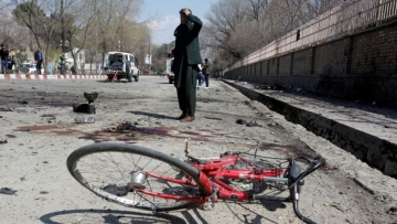 The site of a suicide attack in Kabul, Afghanistan.