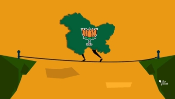 BJP is doing a tightrope walk in J&K. Image of J&K map and BJP party symbol used for representational purposes.