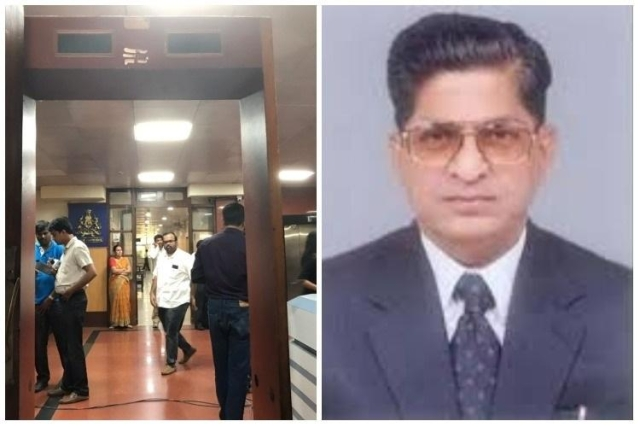A man walked into Lokayuktha's chamber on Wednesday and stabbed him twice.