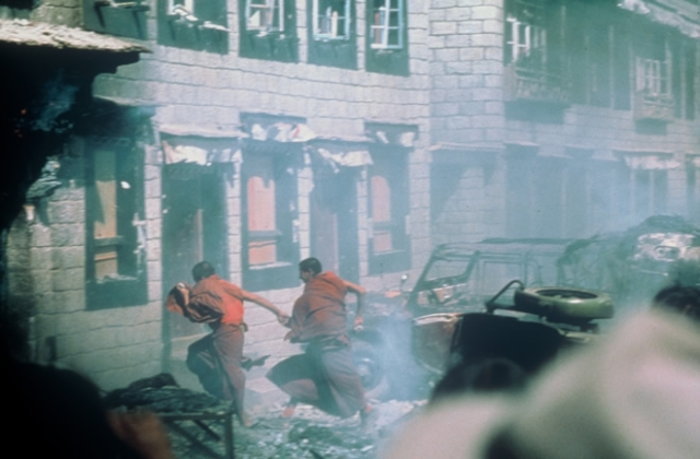 A still from the Tibetan uprising of 1987.