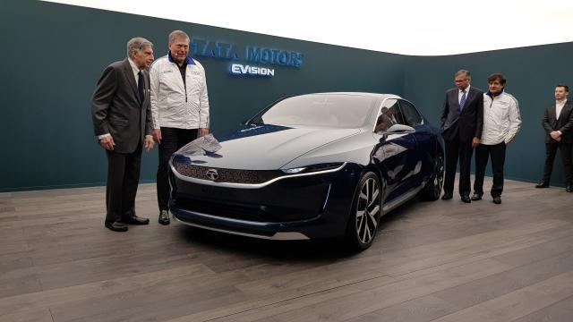 Ratan Tata at the unveiling of the E-Vision electric sedan.