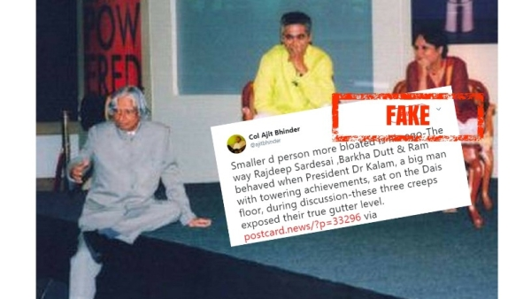 The fake story relates to a 2007 event, during which Kalam sat on the floor while having a debate with the journalists.