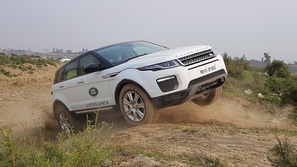A Range Rover Evoque gets some air at the Land Rover Experience program in Noida.