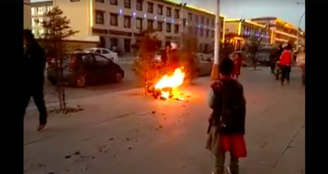 A Tibetan self immolates.