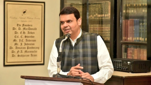 Maharashtra Chief Minister Devcendra Fadnavis at an event.