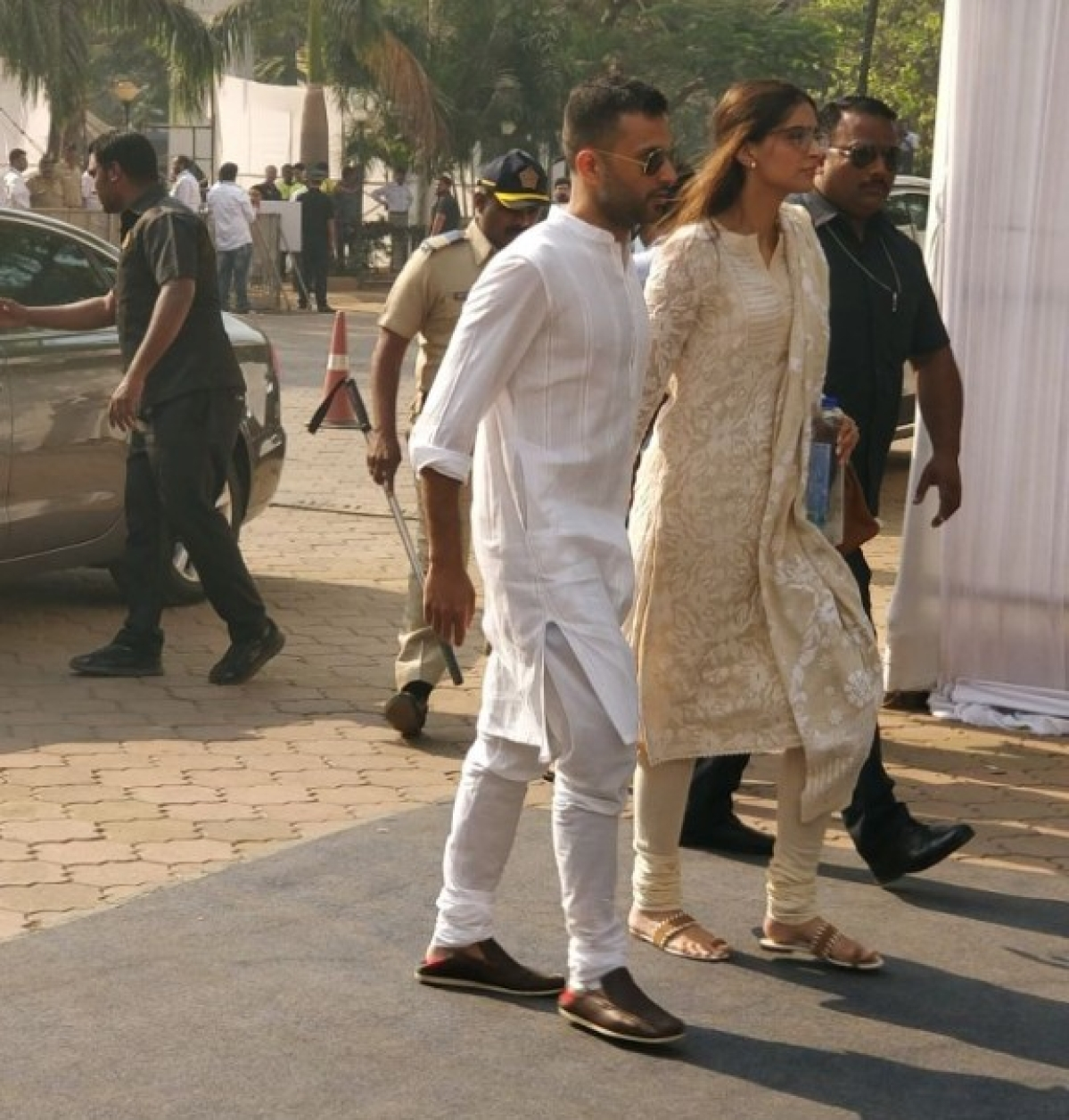 Anand Ahuja with Sonam Kapoor arrive to pay their respects to the late Sridevi at the Celebration Sports Club.
