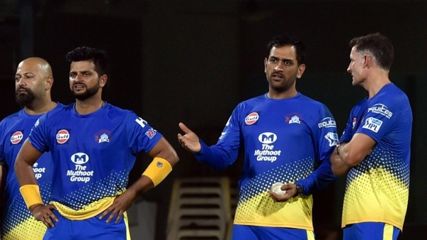 Chennai Super Kings captain MS Dhoni with Suresh Raina and Mike Hussey at a practise session.