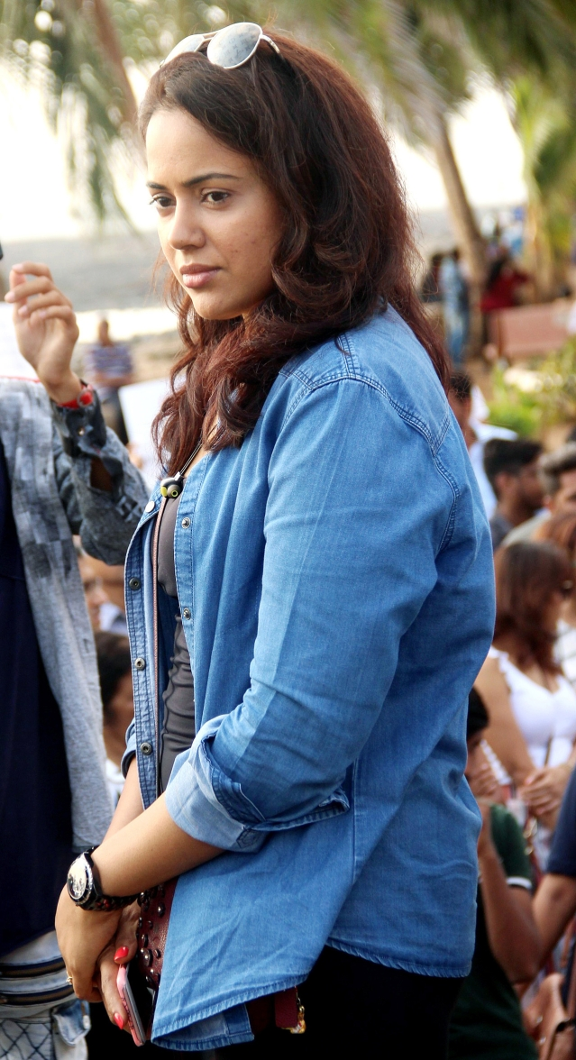 Sameera Reddy spoke to the media during the protests.