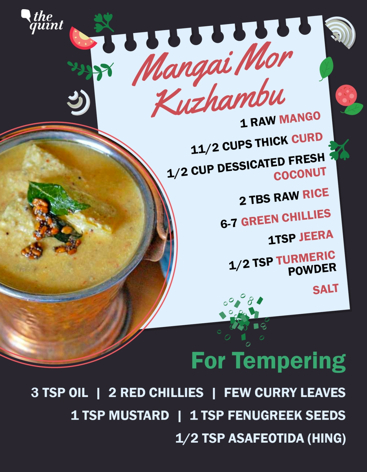 """The <i>mangai mor kuzhambu</i> is a Tamilian summer staple."""" data-reactid=""""339″><figcaption class=merriweather-bold data-reactid=340>The<i>mangai mor kuzhambu</i>is a Tamilian summer staple. (Photo altered by The Quint)</figcaption></figure></div></div><div class=story-article__content__element data-reactid=342><div class=story-article__content__element--text data-reactid=343><p><em><strong>Method:</strong></em><em>In a thick bottom pan, cook cubed mango with just a little water. Do not over cook as it may become mushy. Add turmeric & a little salt while it cooks. In a blender, combine coconut,green chillies, jeera & soaked rice to make a smooth paste. Take the curd in a vessel & beat it without adding water. Combine the ground paste to the curd and mix well. When the mangoes are cooked, add this curd and coconut mix to it. Add salt as per taste and cook on medium flame. Do not boil it. When it raises up, switch off the gas. In another pan, heat oil & add mustard seeds. When it splutters, add the remaining ingredients for tempering & pour it over the curry. Serve it with rice and papadam.</em></p></div></div><div class=story-article__content__element data-reactid=344><div class=story-article__content__element--text data-reactid=345><p>The lemon rice gets a mango makeover with<em>mavinakayi chitranna</em>in Karnataka, while in Kerala's Thrissur, the<em>pachmanga</em><em>meen</em>curry is a mean thing.</p></div></div><div class=story-article__content__element data-reactid=346><div class=story-article__content__element--blockquote data-reactid=347><blockquote data-reactid=348><div class="""