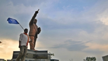 A statue of Dr Babasaheb Ambedkar.