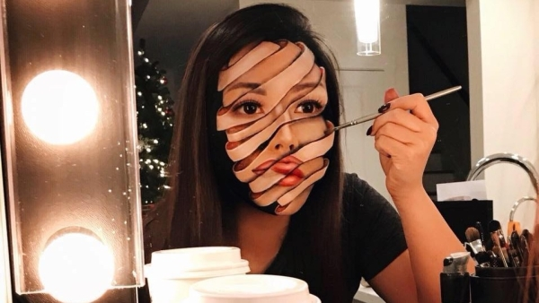 This makeup artist uses her own face as a canvas to create creepy photo-realist illusions.