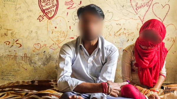 A newly-wed couple inside a 'safe house' in Haryana.