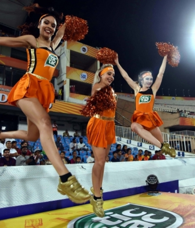Hyderabad: Cheerleaders during an IPL 2018 match between Sunrisers Hyderabad and Rajasthan Royals at Rajiv Gandhi International Stadium in Hyderabad on April 9, 2018. (Photo: IANS)