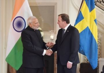 Stockholm: Prime Minister Narendra Modi meets his Swedish counterpart Stefan Lofven, in Stockholm, Sweden on April 17, 2018. (Photo: IANS/PIB)