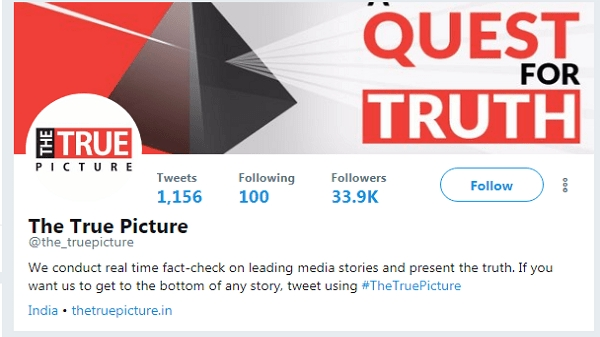 A screenshot of the Twitter handle of 'The True Picture.'