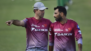 Mohammed Shami with Delhi Daredevils coach Ricky Ponting.