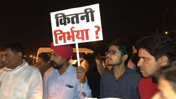 The protestors gathered to raise their voices against the horrifying Unnao and Kathua rape cases.