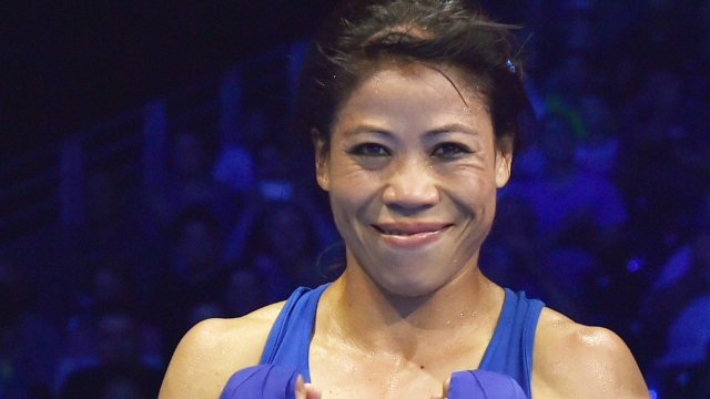 MC Mary Kom is all smiles after winning the semifinal bout at the 2018 Commonwealth Games.