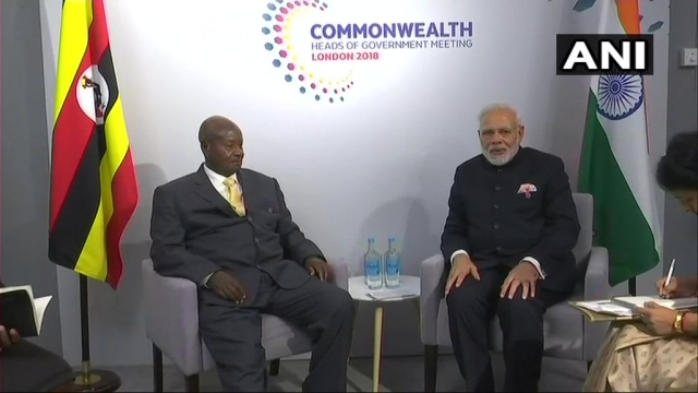 PM Modi holds meeting with Uganda President Yoweri Museveni on the sidelines of the CHOGM