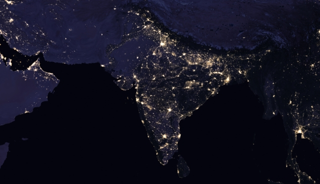 This is a composite view of India and its surrounding areas in  2016.