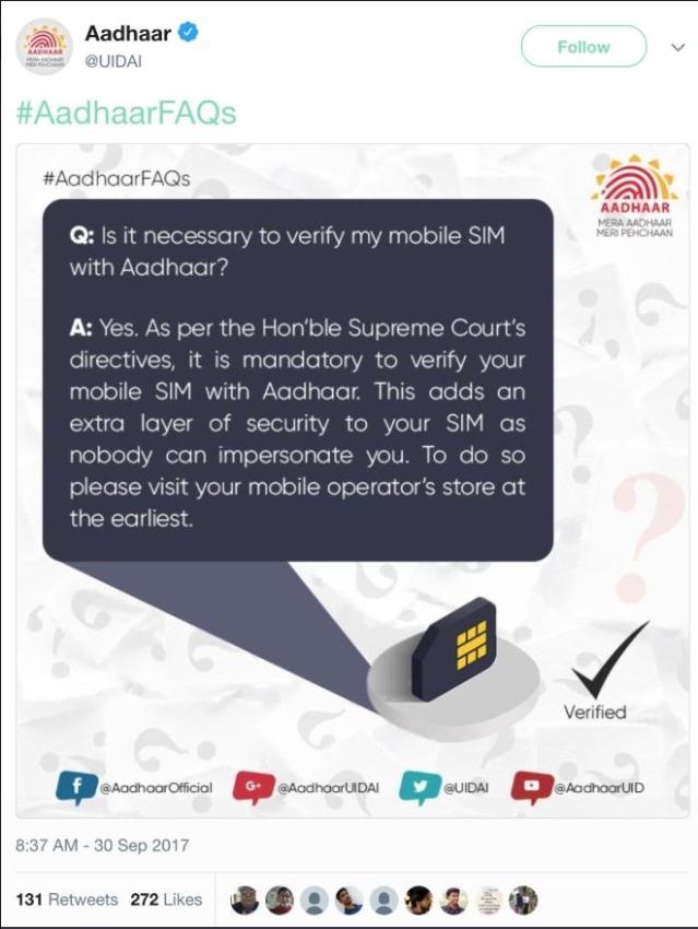 UIDAI FAQs on Mobile/SIM linkage