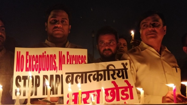 People protesting against the Kathua rape at India Gate in New Delhi. Image used for representative purposes.