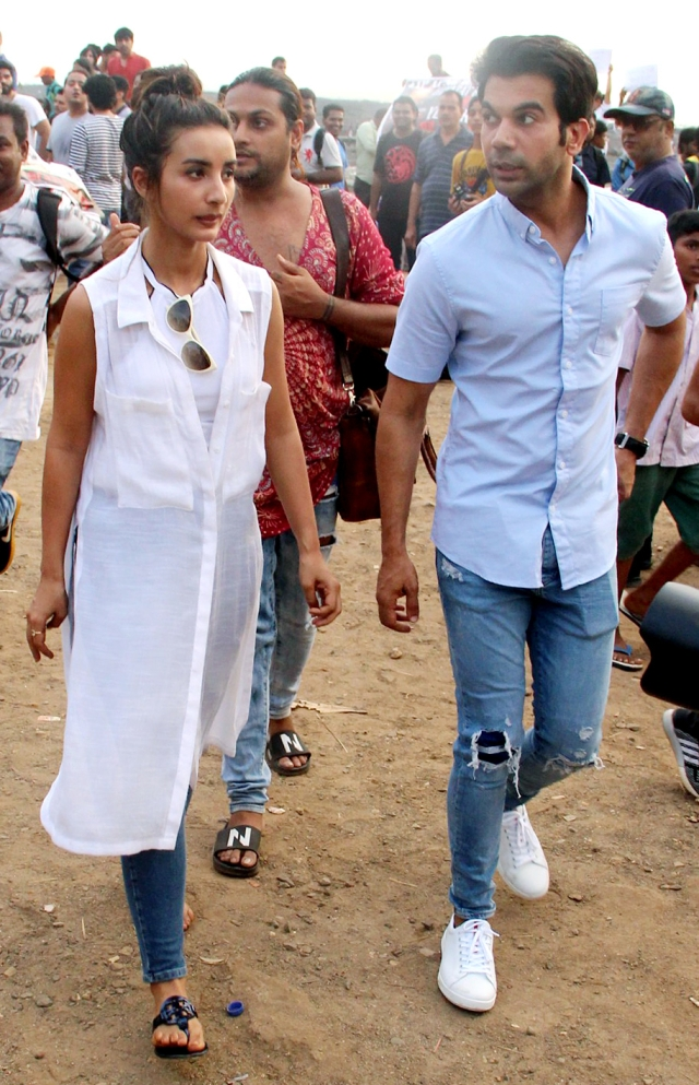 Patralekhaa and Rajkummar Rao at the protest venue in Bandra.