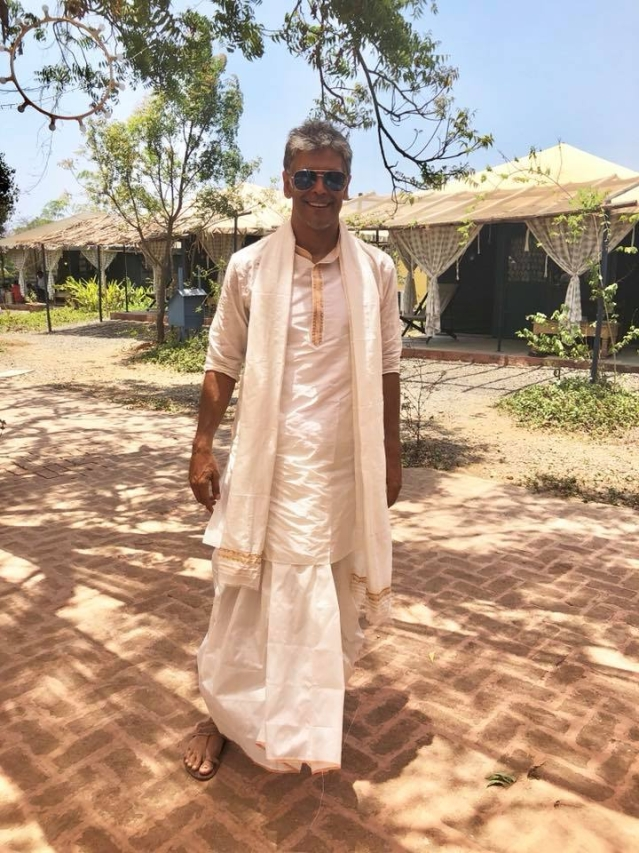 Milind Soman looks heartbreakingly handsome in his summery traditional wear.