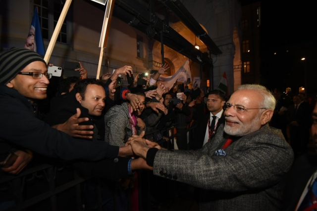 PM Modi is greeted by the Indian community in Stockholm