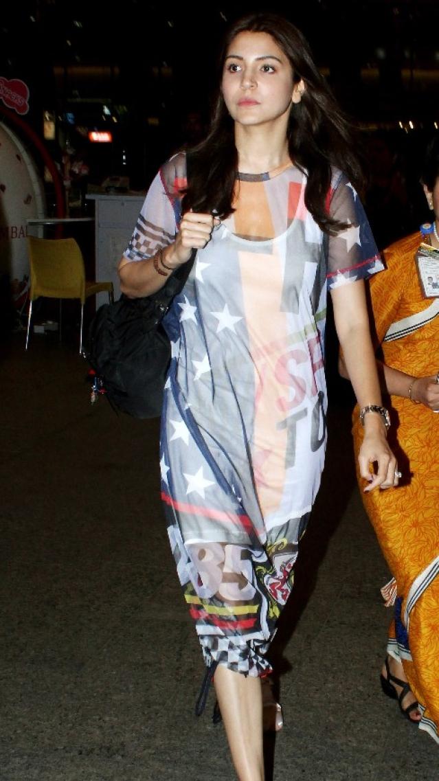 Anushka Sharma snapped outside Mumbai airport.