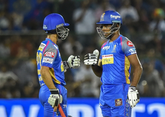 Jaipur: Rajasthan Royals Ajinkya Rahane and Sanju Samson during IPL 2018 cricket match against Delhi Daredevils at Sawai Mansingh Stadium in Jaipur on Wednesday