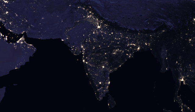 This is a composite view of India and its surrounding areas in 2012.