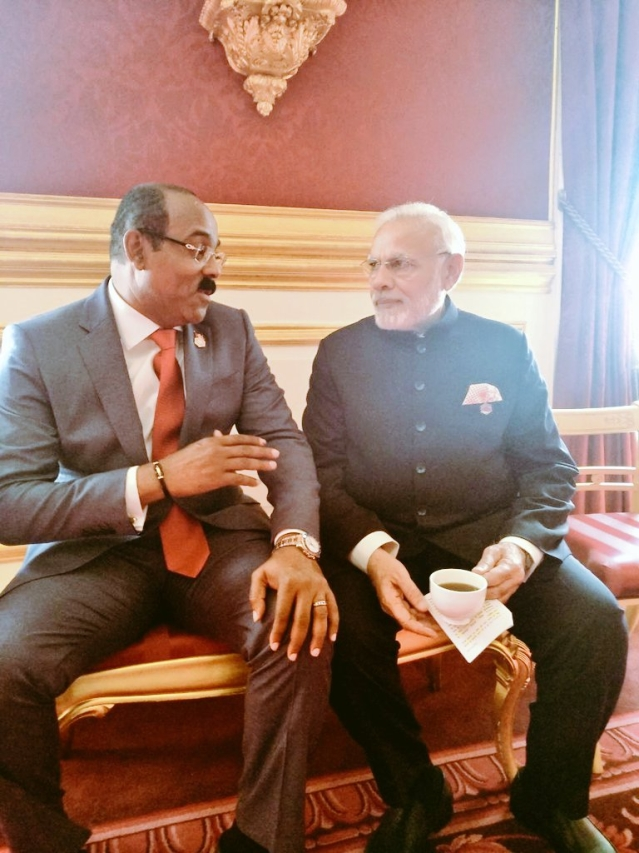 PM Modi meets with Gaston Browne, Prime Minister of Antigua & Barbua on the sidelines of the CHOGM
