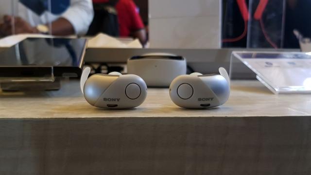 The Sony WF-SP700N wireless headphones