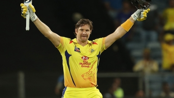 Shane Watson scores a century against Rajasthan Royals in Pune on Friday.