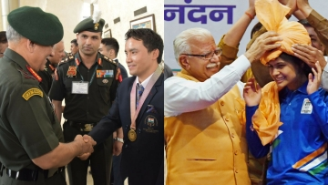 Army Chief General Bipin Rawat congratulates Subedar Jitu Rai, Gold Medallist (Shooting) for his outstanding performance in the recently concluded Commonwealth Games (CWG) 2018; in New Delhi on 18 April 2018