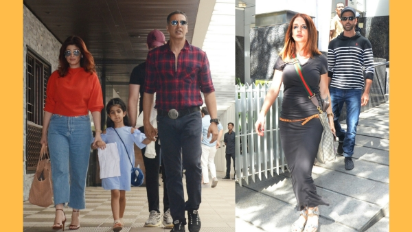 Twinkle Khanna and Akshay Kumar with daughter Nitara; Suzanne and Hrithik Roshan.