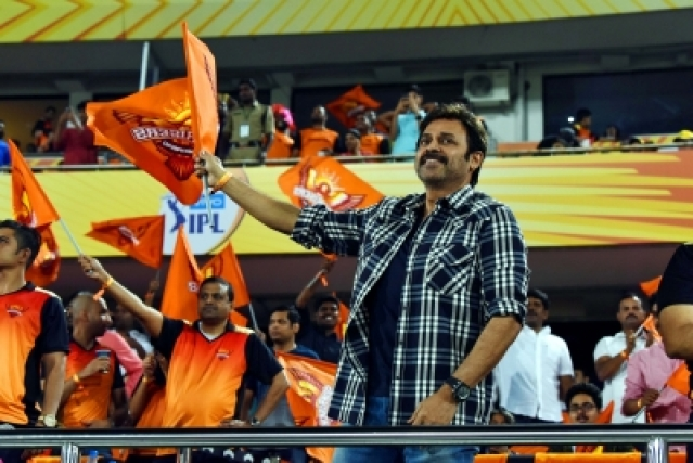 Hyderabad: Actor Venkatesh Daggubati during an IPL 2018 match between Sunrisers Hyderabad and Rajasthan Royals at Rajiv Gandhi International Stadium in Hyderabad on April 9, 2018. (Photo: IANS)