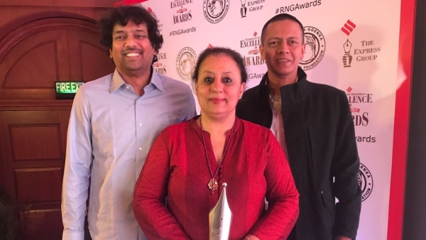 The Panama papers team – P Vaidyanathan Iyer (left), Ritu Sarin (centre) and Jay Mazoomdar.