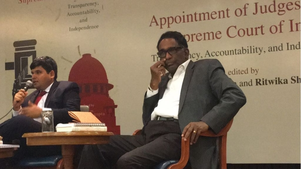 Arghya Sengupta, Research Director of Vidhi Centre for Legal Policy (left) and Justice Jasti Chelameswar (right)