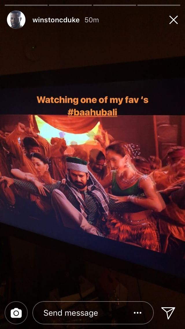 """Watching one of my fav's #Baahubali,"" said Duke on Instagram."