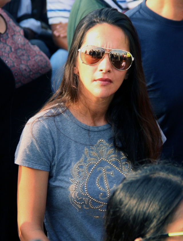 Actor Tara Sharma spotted at the protest venue.