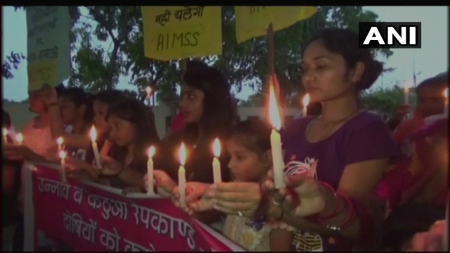 Candlelight march in UP's Moradabad to demand justice for the victims in the Kathua and Unnao rape cases.