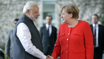 Prime Minister Narendra Modi with German Chancellor Angela Merkel in Berlin.