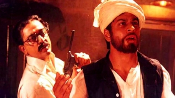 Kamal Haasan and Shah Rukh Khan in a still from <i>Hey Ram</i>.