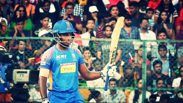 Sanju Samson celebrates a half century for Rajasthan Royals.